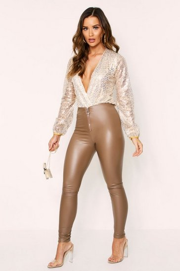 Womens Gold Sequin Wrap Front Plunge Bodysuit