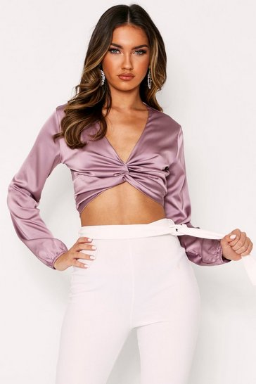 Womens Mauve Twist Front Satin Crop Top
