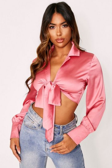 Womens Rose pink Satin Tie Front Blouse