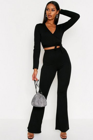 Black Textured Wrap Front Coord