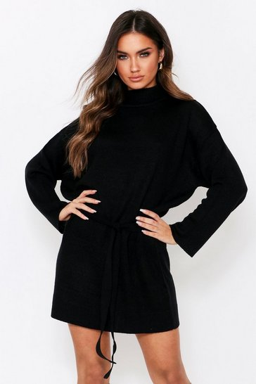 Black Knitted Belted Dress