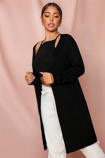 Black Open Front Midi Cardigan