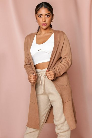Camel Open Front Midi Cardigan