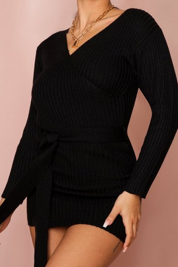 Black Ribbed Wrap Belted Knitted Dress