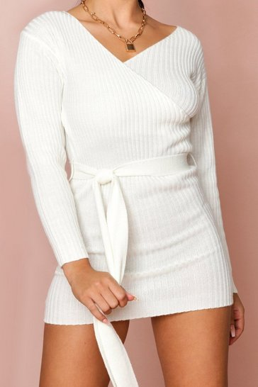 Ivory Ribbed Wrap Belted Knitted Dress