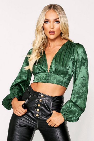 Green Floral Satin Button Front Plunge Top