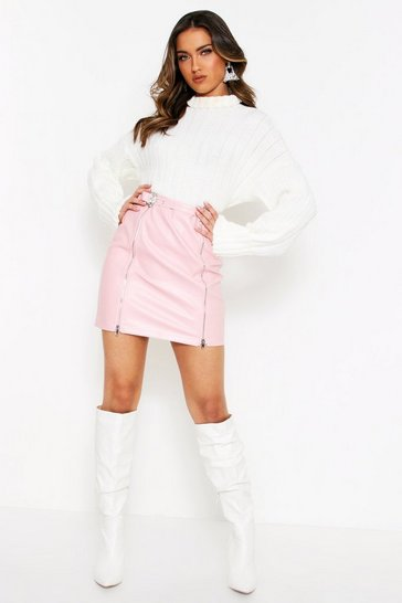 Womens Pink Western Belt Faux Leather Mini Skirt