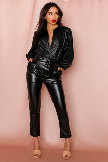 Womens Black Paper Bag Waist Belted Faux Leather Trousers