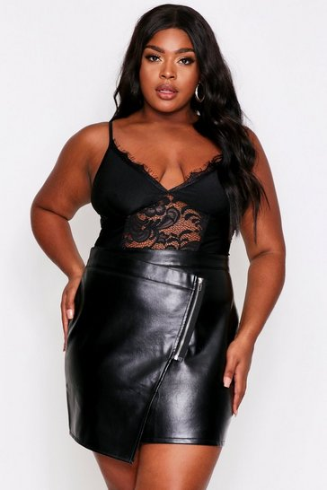Black Asymmetric Faux Leather Zip Front Skirt