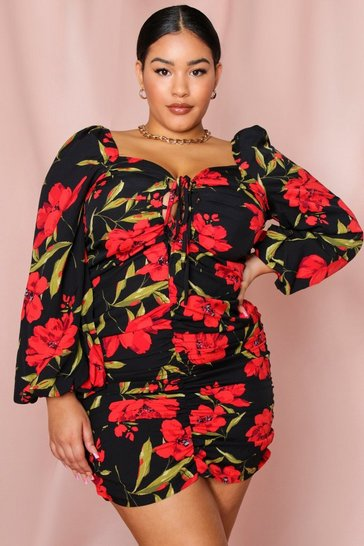 Womens Black Floral Ruched Fruit Balloon Sleeve Dress