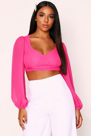 Womens Fuchsia Balloon Sleeve Chiffon Plunge Top