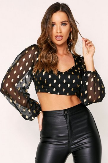 Womens Black Gold Foil Spot Chiffon Plunge Top