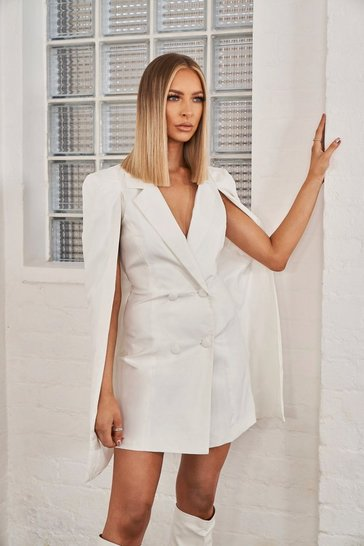 Womens White Cape Sleeve Double Breasted Blazer Dress