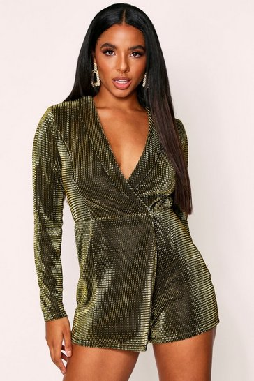 Gold Metallic Wrap Blazer Playsuit