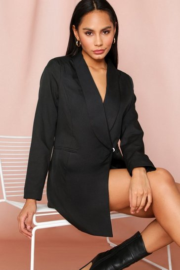 Black Asymmetric Blazer Dress