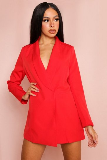 Red Asymmetric Blazer Dress