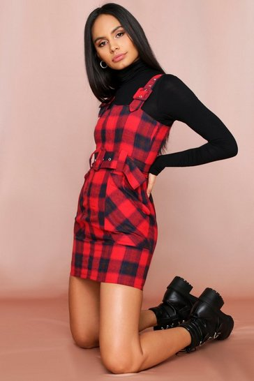 Red Belted Checked Pinafore Dress