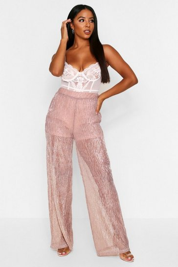 Nude Glitter Pleated Wide Leg Trouser