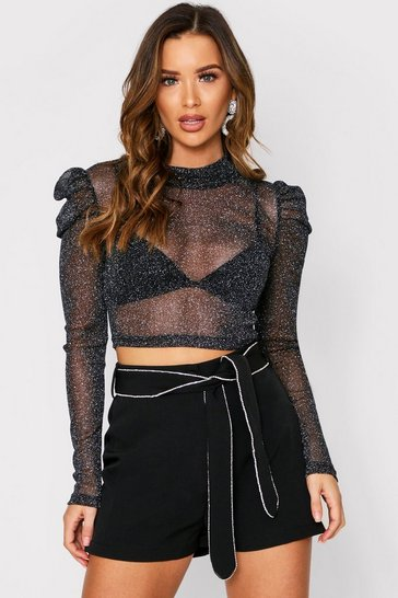 Womens Black Glitter Puff Sleeve Top
