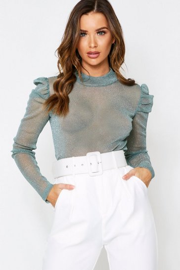 Teal Glitter Puff Sleeve Top