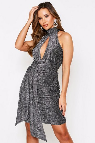 Pewter Glitter High Neck Key Hole Cut Out Dress