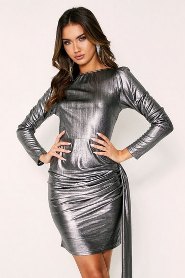Womens Pewter Metallic Foil Dress Slash Neck