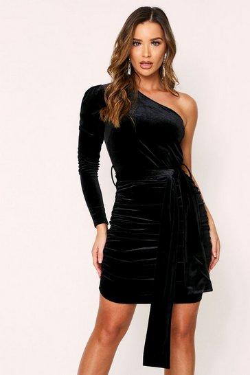 Womens Black Velvet One Shoulder Dress