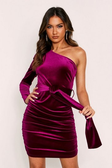 Womens Magenta Velvet One Shoulder Dress