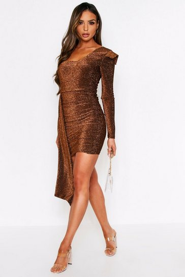 Womens Bronze Glitter One Shoulder Dress