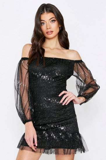 Womens Black Glitter Frill Organza Dress