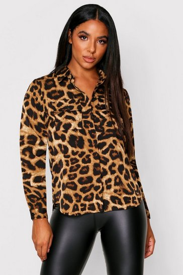 Brown Leopard Print Utility Pocket Ovesrized Shirt
