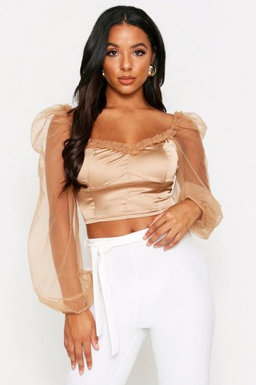 Womens Champagne Milk Maid Puff Sleeve Top
