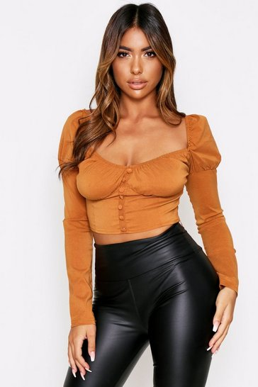 Womens Tan Satin Puff Shoulder Button Detail Top