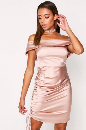 Nude Satin Ruched Side Bardot Dress
