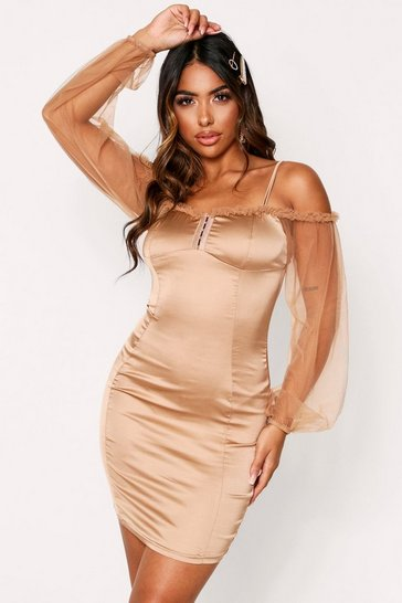 Womens Champagne Mesh Sleeve Bardot Dress