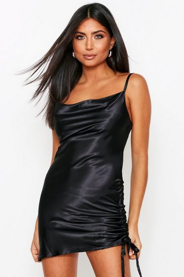 Black Cowl Neck Ruched Satin Dress