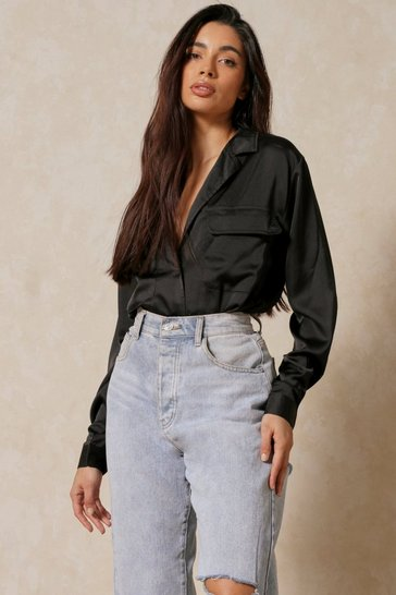 Womens Black Oversized Satin Utility Shirt