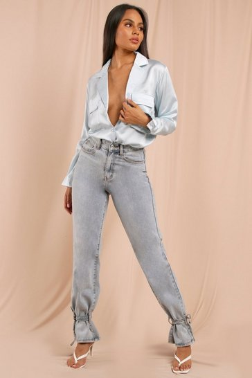 Blue Oversized Satin Utility Shirt