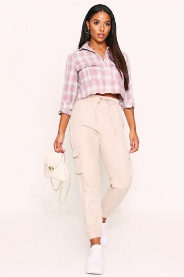 Womens Pink Cropped Pocket Detail Checked Shirt
