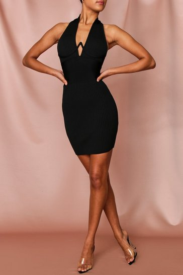 Black Premium Bandage Halterneck Underwired Dress
