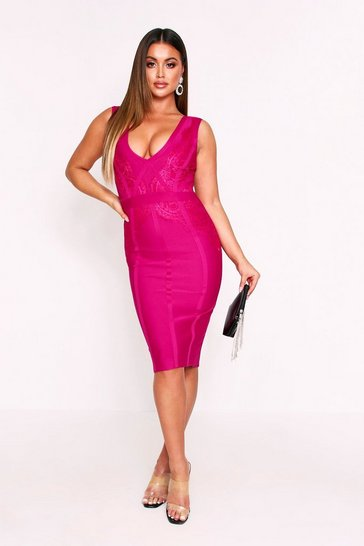 Fushia Premium Seam Detail Lace Insert Bandage Dress
