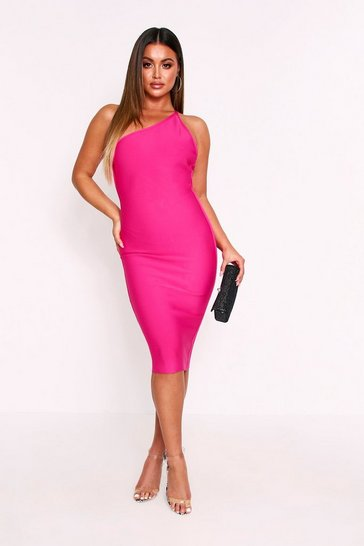 Fuchsia Premium One Shoulder Bandage Dress