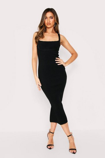 Black Premium Wide Rib Midi Bandage Dress