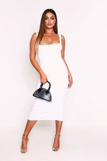 Womens White Premium Wide Rib Midi Bandage Dress