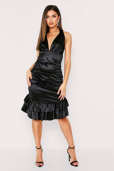 Black Satin Hlter Neck Ruched Dress