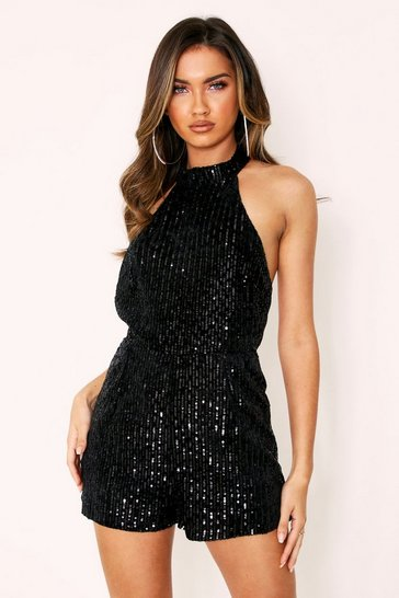 Womens Black Sequin Velvet Playsuit