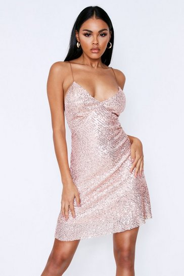 Womens Rose gold Sequin Strappy Mini Dress