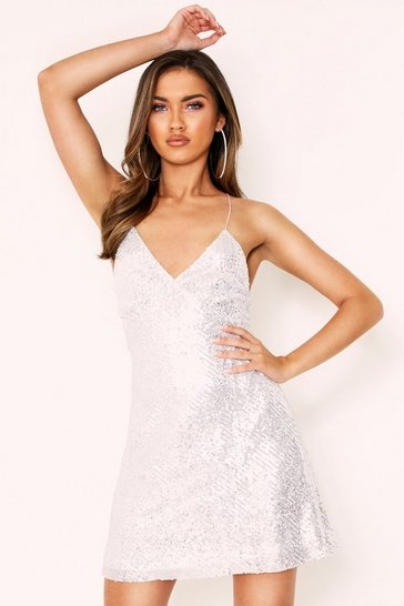 Womens Silver Sequin Strappy Mini Dress