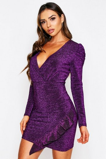 Womens Magenta Glitter Ruffle Detail Dress