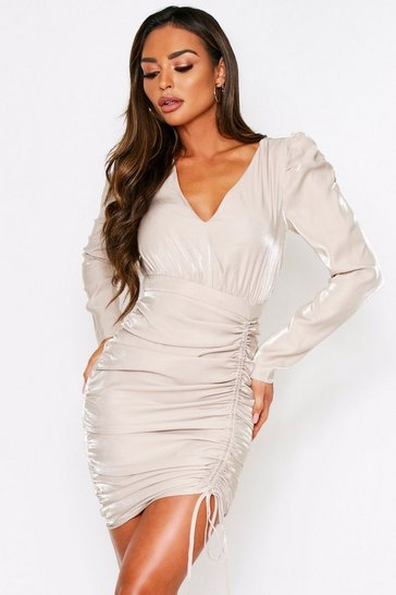 Womens Champagne Puff Sleeve Ruched Side Detail Dress